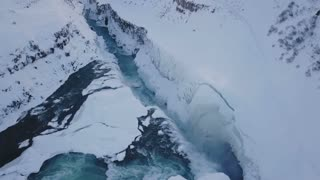Aerial View Above Gullfoss Waterfall During Winter In Iceland 1