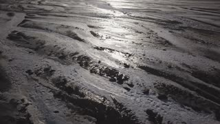 Beautiful And Sunny Iceland Aerial View Of Frozen Ground With Mountains 2