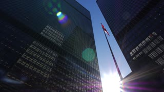 Cn Tower With 2 Tall Downtown Office Buildings On Sunny Day With Canadian Flag 1