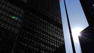 Cn Tower With 2 Tall Downtown Office Buildings On Sunny Day With Canadian Flag 3