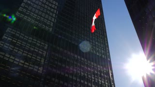Cn Tower With 2 Tall Downtown Office Buildings On Sunny Day With Canadian Flag 4