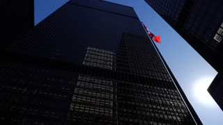Cn Tower With 2 Tall Downtown Office Buildings On Sunny Day With Canadian Flag 2
