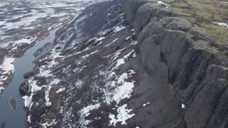 Iceland Aerial View Flying High Showing Large Mountain Ridge In Winter 7