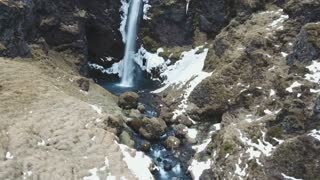 Iceland Aerial View Of Large Beautiful Waterfall 2
