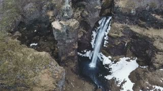 Iceland Aerial View Of Large Beautiful Waterfall 4