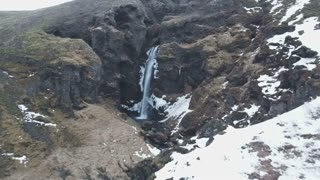 Iceland Aerial View Of Large Beautiful Waterfall 7