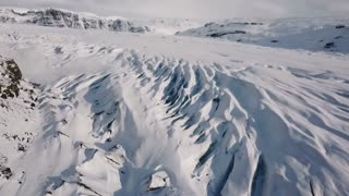 Iceland Aerial View Of Large Glacier In Winter 4