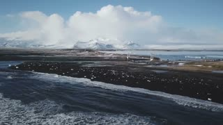 Iceland Aerial View Of Ocean Waves At Diamond Beach With Glacier Lagoon In Background 3