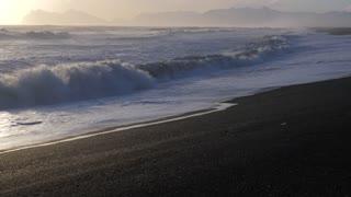Iceland Beautiful Black Sand Beach Ocean Shoreline On Sunny Day 4
