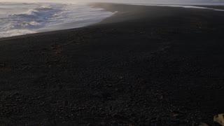 Iceland Beautiful Black Sand Beach Ocean Shoreline With Mountains 1