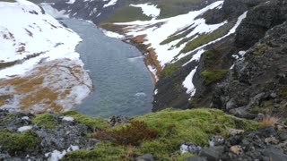 Iceland Beautiful High Up Cliff View Looking Down At River In Winter 1