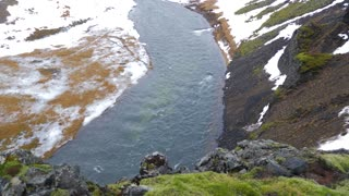 Iceland Beautiful High Up Cliff View Looking Down At River In Winter 3