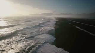 Iceland Ocean Aerial View Of Beautiful Sunset With Large Waves 2