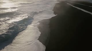 Iceland Ocean Aerial View Of Beautiful Sunset With Large Waves 4