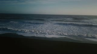 Iceland Ocean Aerial View Of Beautiful Sunset With Large Waves 7