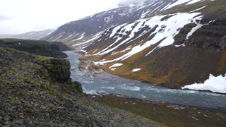 Iceland Panning Across Beautiful Large Valley And Mountains With River In Winter 1