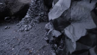 Iceland Revealing Black Sand Beach Basalt Rock Cave Tunnel In Winter 1