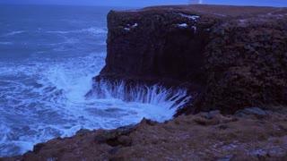 Iceland Rough Ocean Water Crashes Against Large Cliffs In Arnarstapi 3