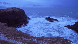 Iceland Rough Ocean Water Crashes Against Large Cliffs In Arnarstapi 5