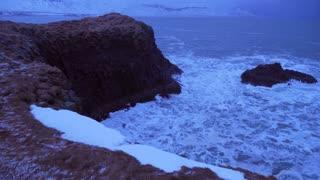 Iceland Rough Ocean Water Crashes Against Large Cliffs In Arnarstapi 6