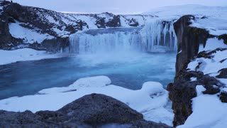 Iceland View Of Beautiful Godafoss Waterfall In Winter 1