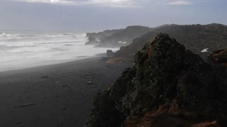 Iceland View Of Black Sand Beach And Rough Ocean Waves At Djupalonssandur 1