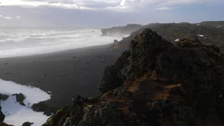 Iceland View Of Black Sand Beach And Rough Ocean Waves At Djupalonssandur 2