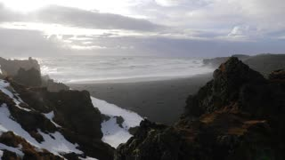 Iceland View Of Black Sand Beach And Rough Ocean Waves At Djupalonssandur 4