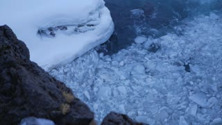 Iceland View Of Swirling Ice Chunks Trapped In Strong Water Current 2