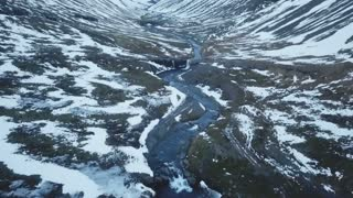 Iceland Winter Aerial View Of A Large Valley Between Mountains And A River 2