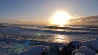 Iceland Winter View Of Crashing Ocean Waves At Sunrise 1