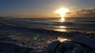 Iceland Winter View Of Crashing Ocean Waves At Sunrise 4