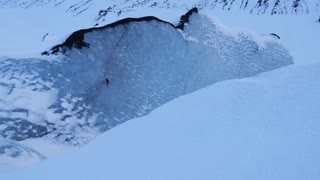 Large Blue Glacier Ice Wall In Iceland During Winter 2