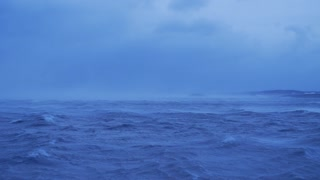 Panning Across Cold Winter Storm Passing Over Ocean In Iceland 2