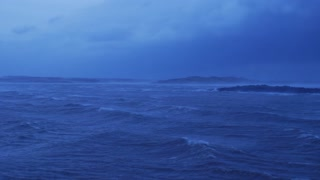 Panning Across Cold Winter Storm Passing Over Ocean In Iceland 3