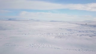 Panning Across Snow Covered Iceland On Sunny Day 1