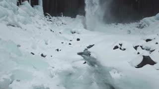 Svartifoss Iceland Aerial View Showing Large Lava Column Waterfalls 2