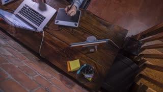 Time Lapse Of Female Artist Designer Working On A Wood Desk With Digital Pen 01