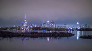 Toronto Night Time Skyline Cityscape Timelapse 1