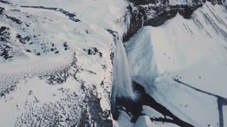 Wide Aerial View Showing Seljalandsfoss Waterfall During Winter In Iceland 2