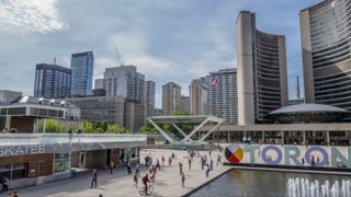 Wide Timelapse Of Large Toronto Sign At City Hall Motion Controlled 1
