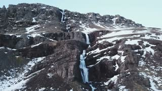 Winter Iceland Aerial Mountain View Of Large Water Fall 10