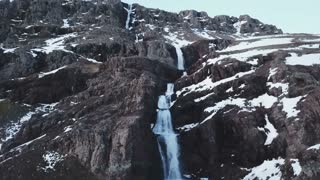 Winter Iceland Aerial Mountain View Of Large Water Fall 11