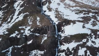 Winter Iceland Aerial Mountain View Of Large Water Fall 4