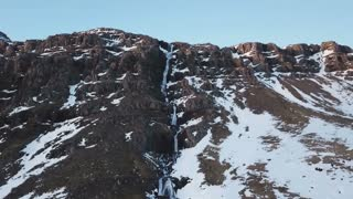 Winter Iceland Aerial Mountain View Of Large Water Fall 6