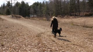 Young Female Walking On Farm Land With Border Collie Dog 7
