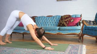 Young Attractive Female Doing A Downward Dog Stretch On A Yoga Mat 1