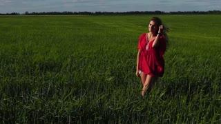 Happy woman enjoying nature beautiful blonde walking on field. Freedom concept.