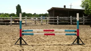 Horse woman jumps through the barrier on horseback slow motion