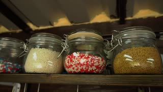 jars with different culinary powder